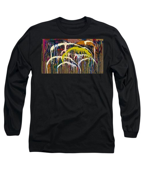 Abstracts 14 - Downtown With Umbrellas Long Sleeve T-Shirt