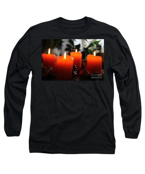 Long Sleeve T-Shirt featuring the photograph Advent Candles Christmas Candle Light by Paul Fearn