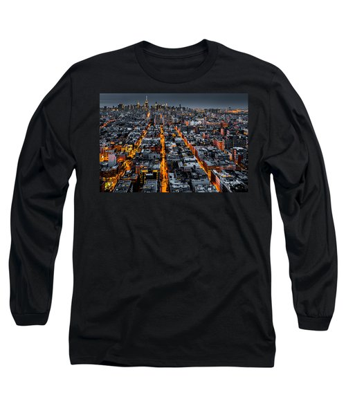 Aerial View Of New York City At Night Long Sleeve T-Shirt