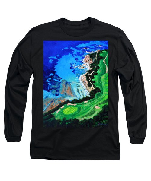 Aerial View Of Pebble Beach Long Sleeve T-Shirt by John Lautermilch