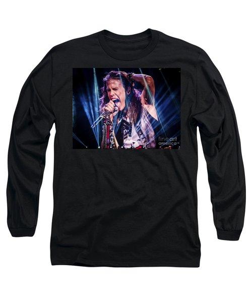 Aerosmith Steven Tyler Singing In Concert Long Sleeve T-Shirt by Jani Bryson