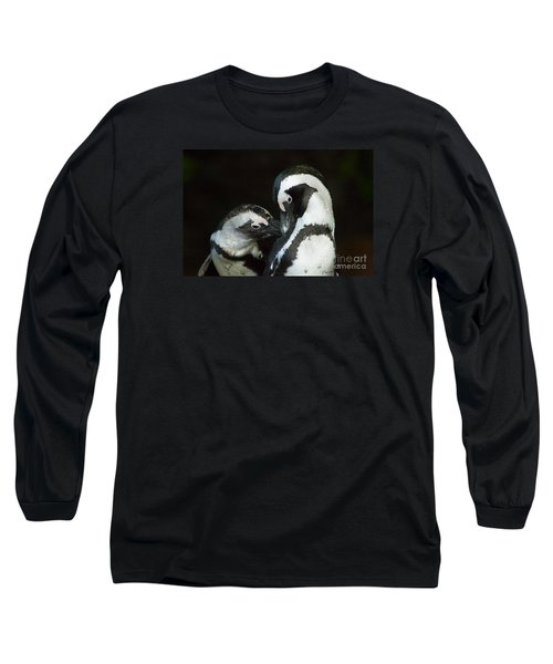 African Black-footed Penquin-signed-#8081 Long Sleeve T-Shirt by J L Woody Wooden
