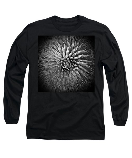 Agave Spikes Black And White Long Sleeve T-Shirt