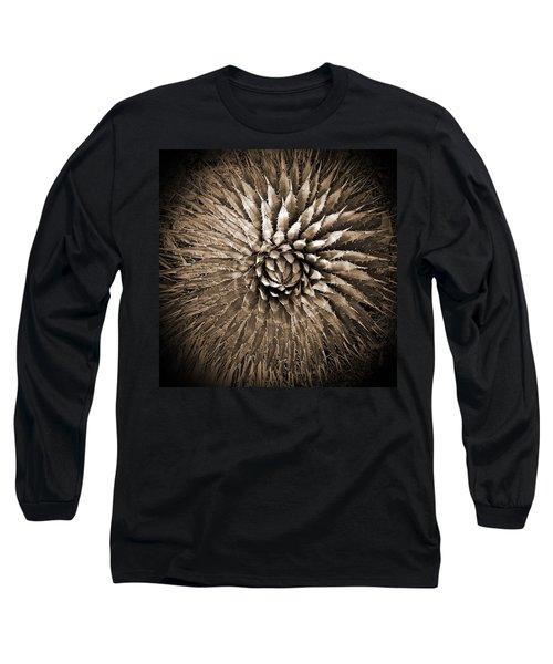 Agave Spikes Sepia Long Sleeve T-Shirt by Alan Socolik