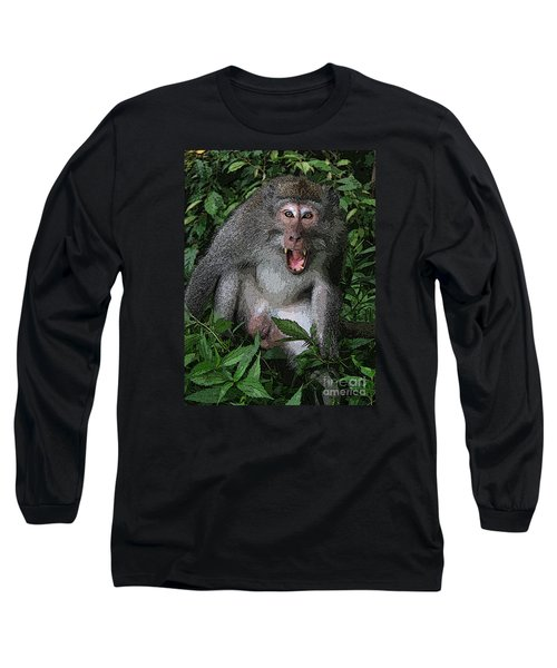 Long Sleeve T-Shirt featuring the photograph  Aggressive Monkey From Bali by Sergey Lukashin