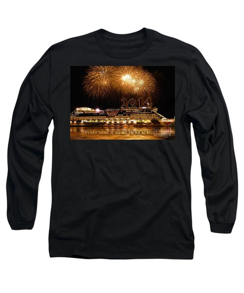 Long Sleeve T-Shirt featuring the photograph Aida Cruise Ship 2014 New Year's Day New Year's Eve by Paul Fearn