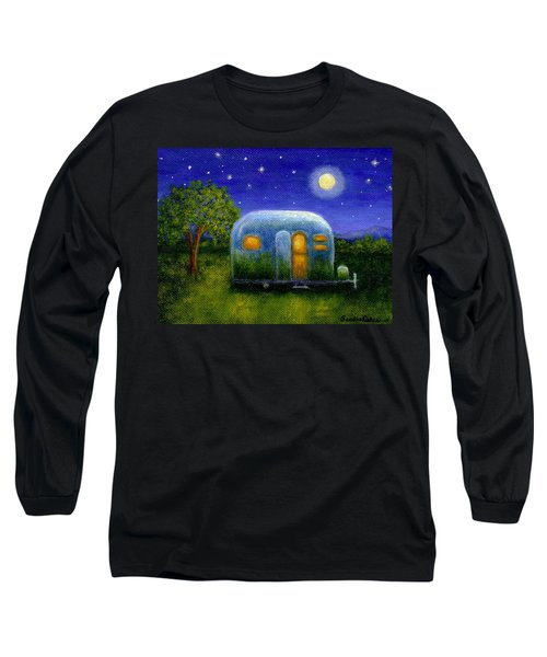Long Sleeve T-Shirt featuring the painting Airstream Camper Under The Stars by Sandra Estes
