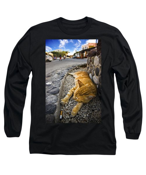 Long Sleeve T-Shirt featuring the photograph Alley Cat Siesta by Meirion Matthias