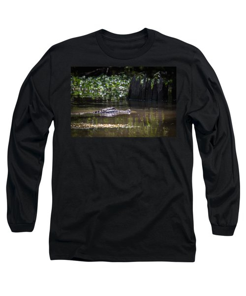 Alligator Swimming In Bayou 2 Long Sleeve T-Shirt