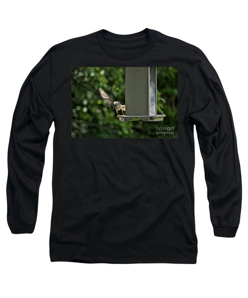 Long Sleeve T-Shirt featuring the photograph Almost A Ruff Bird Landing by Thomas Woolworth