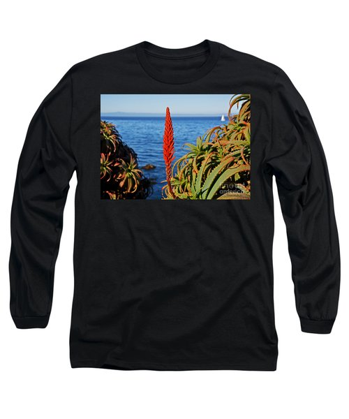 Aloe Arborescens Flowering At Pacific Grove Long Sleeve T-Shirt by Susan Wiedmann