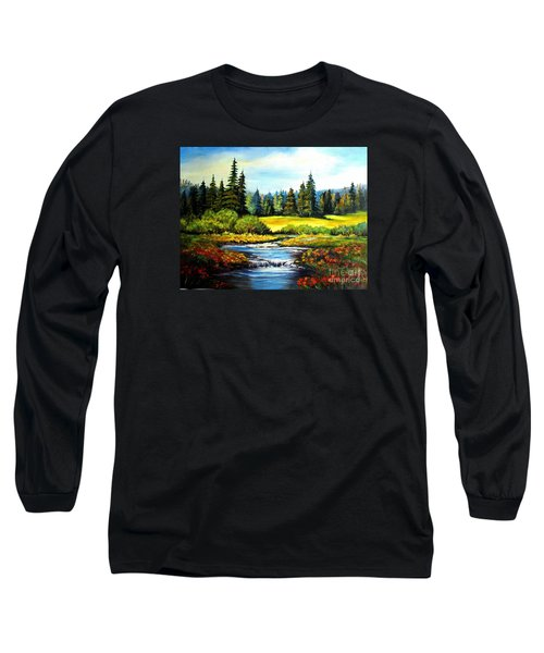 Long Sleeve T-Shirt featuring the painting Alpine Meadow by Hazel Holland
