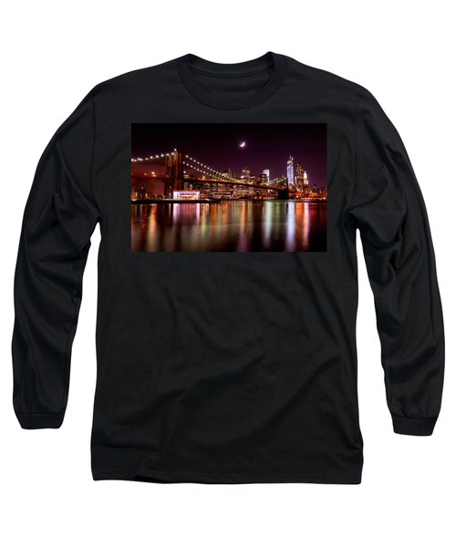 Amazing New York Skyline And Brooklyn Bridge With Moon Rising Long Sleeve T-Shirt by Mitchell R Grosky