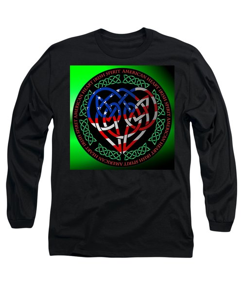 Long Sleeve T-Shirt featuring the digital art American Celtic Heart by Ireland Calling