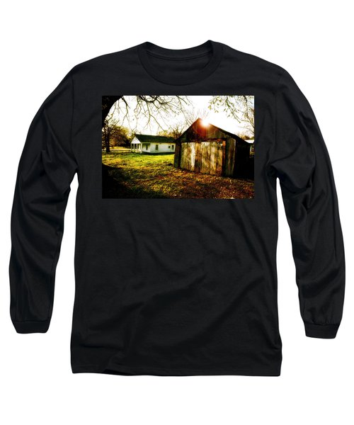 American Fabric   Mickey Mantle's Childhood Home Long Sleeve T-Shirt by Iconic Images Art Gallery David Pucciarelli