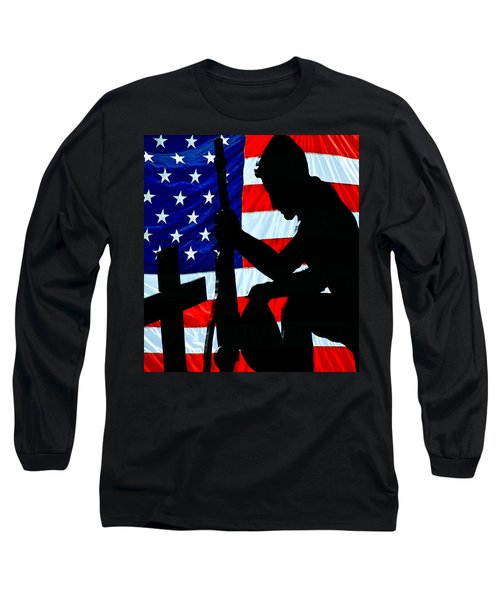 A Time To Remember American Flag At Rest Long Sleeve T-Shirt by Bob Orsillo