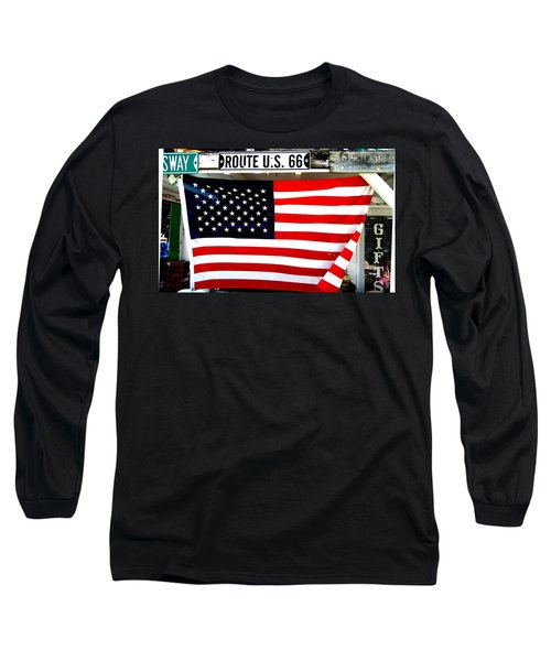 American Flag Route 66 Long Sleeve T-Shirt
