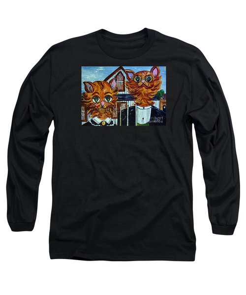Long Sleeve T-Shirt featuring the painting American Gothic Cats - A Parody by Eloise Schneider
