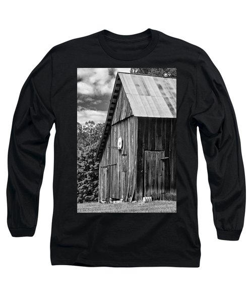 An American Barn Bw Long Sleeve T-Shirt by Steve Harrington
