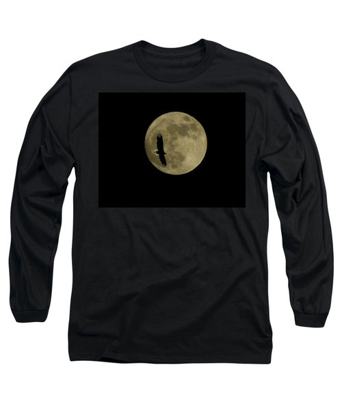 Long Sleeve T-Shirt featuring the photograph An Eagle And The Moon by Mark Alan Perry