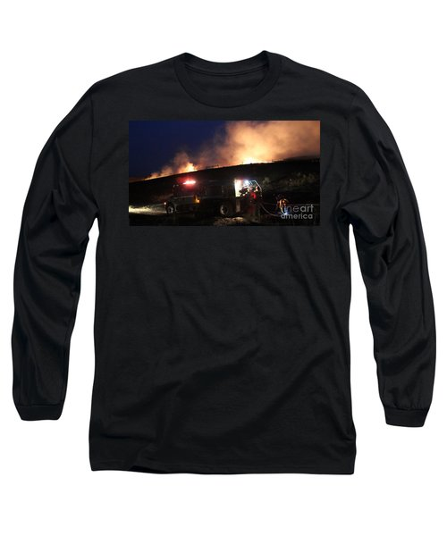 Long Sleeve T-Shirt featuring the photograph An Engine Crew Works At Night On White Draw Fire by Bill Gabbert