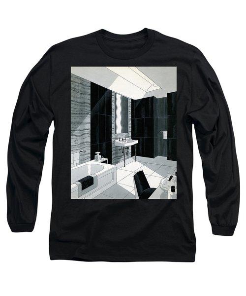 An Illustration Of A Bathroom Long Sleeve T-Shirt