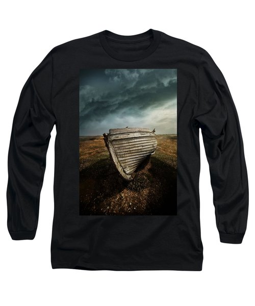 An Old Wreck On The Field. Dramatic Sky In The Background Long Sleeve T-Shirt