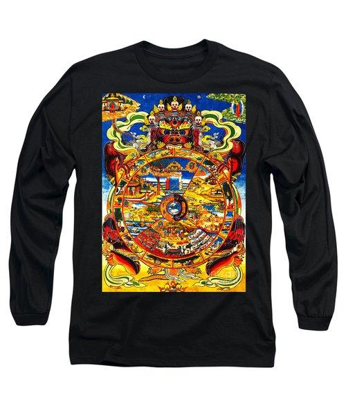 Ancient Tibetan Tangka Wheel Of Life Long Sleeve T-Shirt