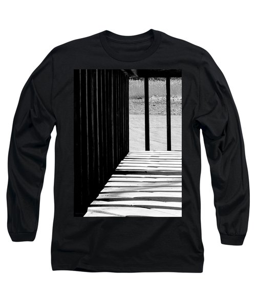 Long Sleeve T-Shirt featuring the photograph Angles And Shadows - Black And White by Shawna Rowe