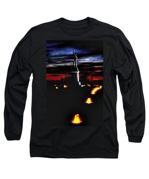 Long Sleeve T-Shirt featuring the photograph Antietam Memorial Illumination - 3rd Pennsylvania Volunteer Infantry Sunset by Michael Mazaika