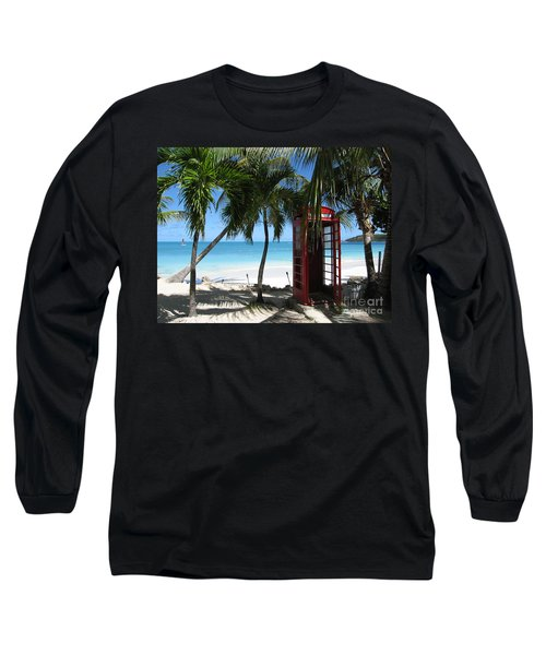 Long Sleeve T-Shirt featuring the photograph Antigua - Phone Booth by HEVi FineArt