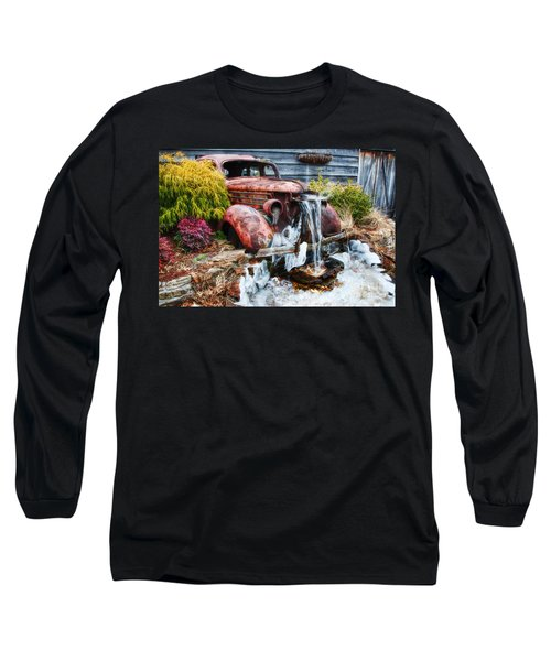 Antique Car Water Fountain Columbus Georgia Long Sleeve T-Shirt by Vizual Studio