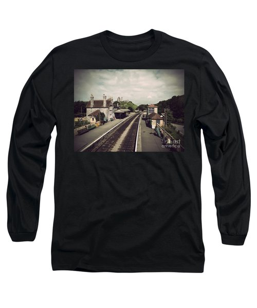 Long Sleeve T-Shirt featuring the photograph Antique Corfe Castle by Linsey Williams