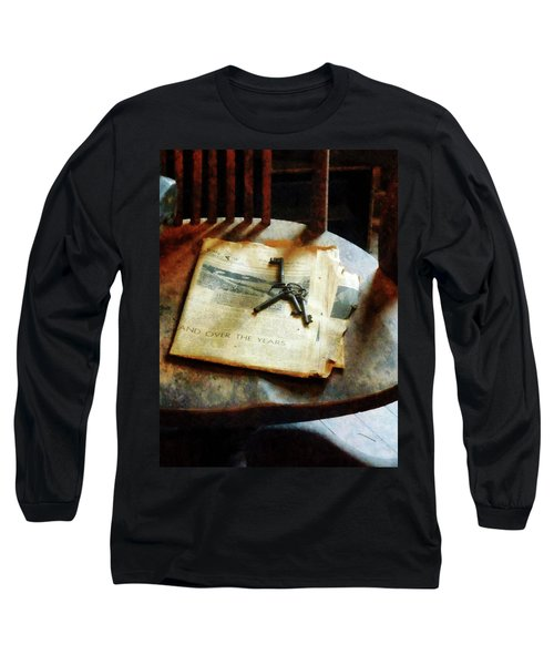 Long Sleeve T-Shirt featuring the photograph Antique Keys On Newspaper by Susan Savad