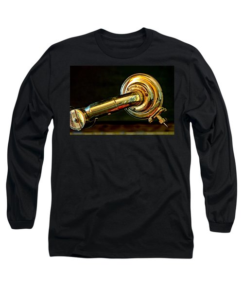 Long Sleeve T-Shirt featuring the photograph Antique Phonograph Tonearm by Stephen Anderson
