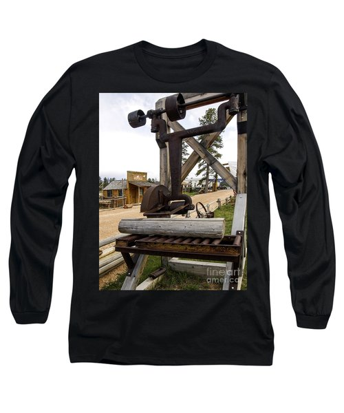 Long Sleeve T-Shirt featuring the photograph Antique Table Saw Tool Wood Cutting Machine by Paul Fearn
