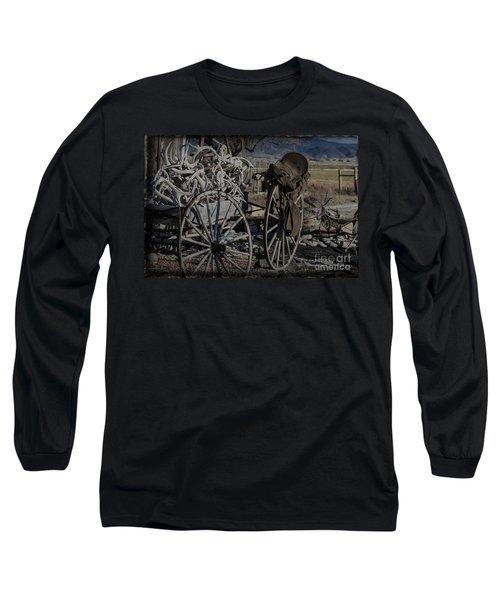 Antlers And My Saddle Long Sleeve T-Shirt by Janice Rae Pariza