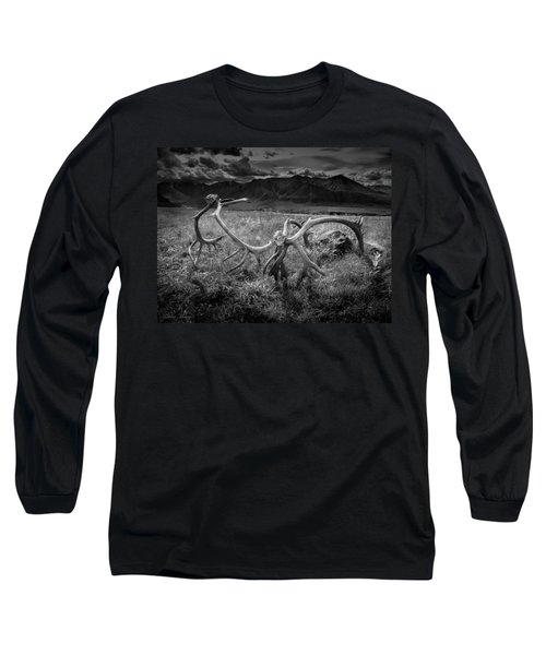 Antlers In Black And White Long Sleeve T-Shirt