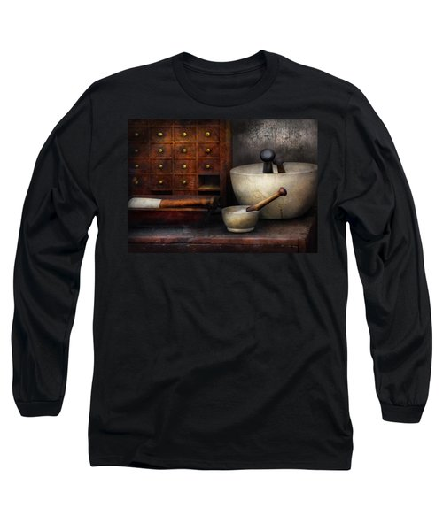 Apothecary - Pestle And Drawers Long Sleeve T-Shirt by Mike Savad