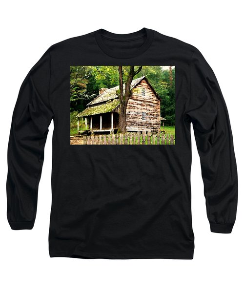 Long Sleeve T-Shirt featuring the painting Appalachian Cabin by Desiree Paquette