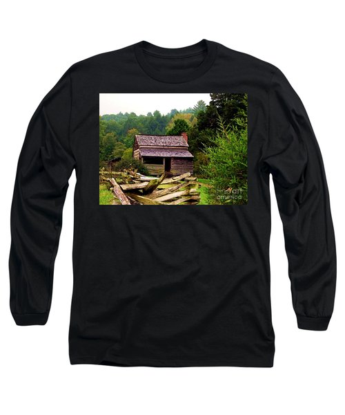 Appalachian Cabin With Fence Long Sleeve T-Shirt by Desiree Paquette
