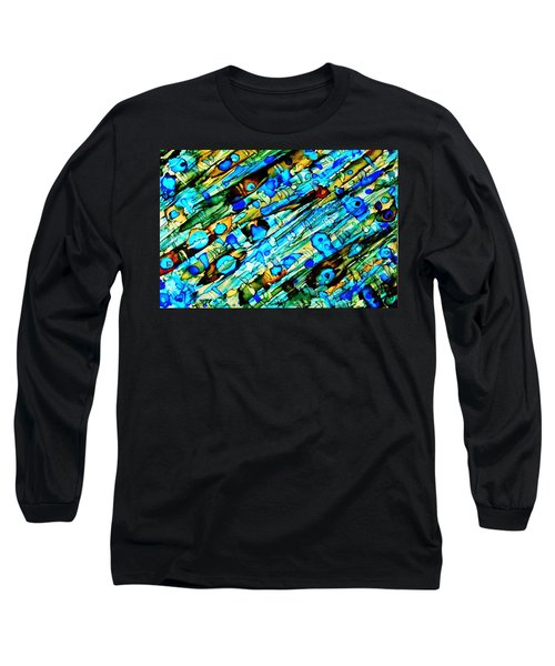 Aqua Brown Jade Gold Abstract Alcohol Inks Long Sleeve T-Shirt by Danielle  Parent