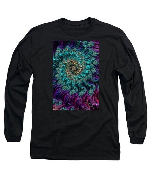 Aqua Swirl Long Sleeve T-Shirt by Steve Purnell