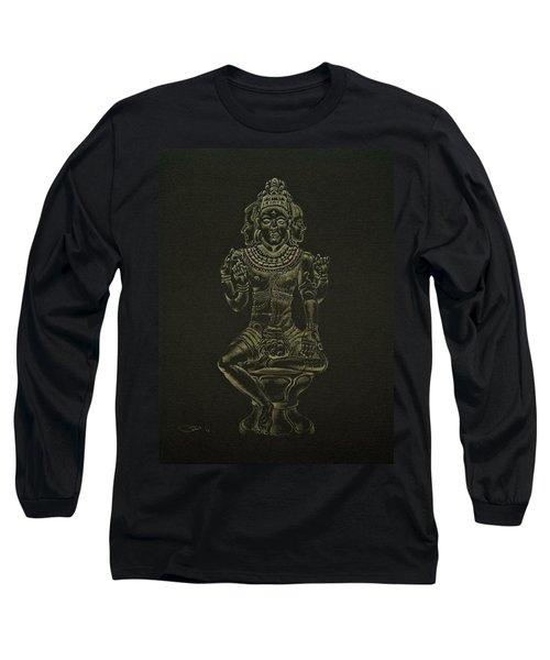 Long Sleeve T-Shirt featuring the drawing Ardhanarishvara I by Michele Myers