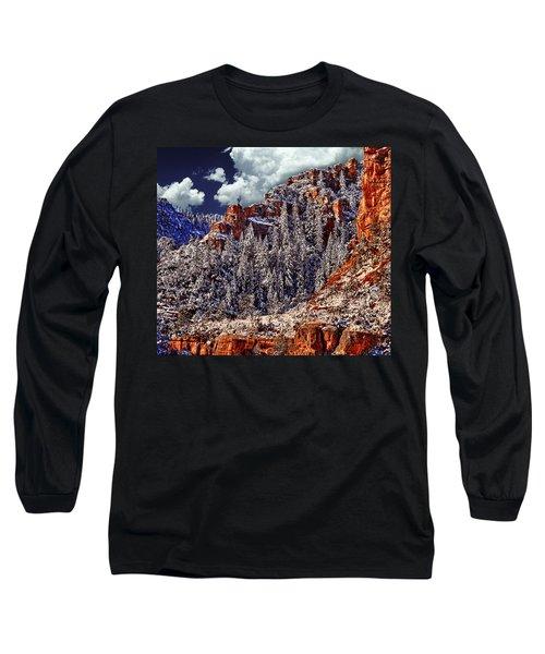Arizona Secret Mountain Wilderness In Winter Long Sleeve T-Shirt by Bob and Nadine Johnston