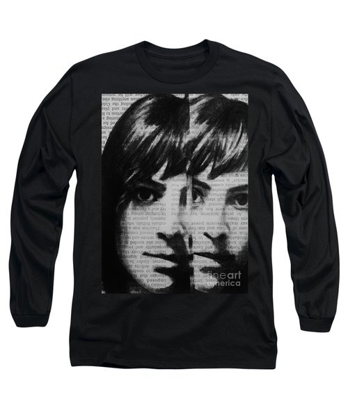 Long Sleeve T-Shirt featuring the drawing Art In The News 22 by Michael Cross
