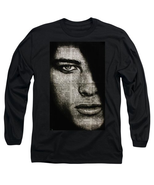 Long Sleeve T-Shirt featuring the drawing Art In The News 7 by Michael Cross