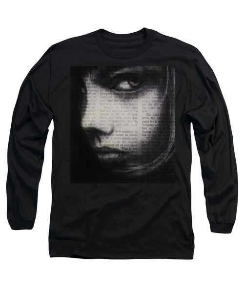 Long Sleeve T-Shirt featuring the drawing Art In The News 9 by Michael Cross