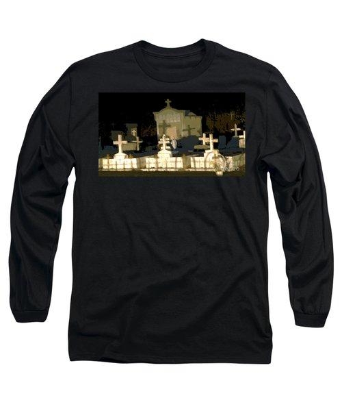 Long Sleeve T-Shirt featuring the photograph Louisiana Midnight Cemetery Lacombe by Luana K Perez