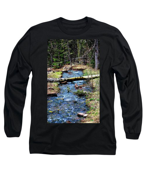 Long Sleeve T-Shirt featuring the photograph Aspen Crossing Mountain Stream by Barbara Chichester
